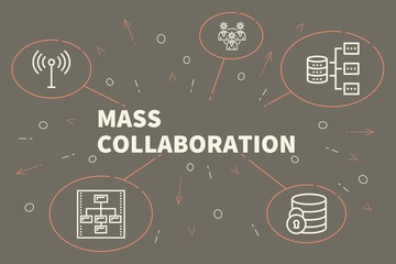 Business illustration showing the concept of mass collaboration