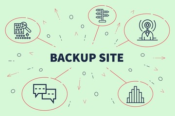 Business illustration showing the concept of backup site