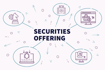 Business illustration showing the concept of securities offering