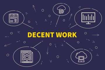 Business illustration showing the concept of decent work