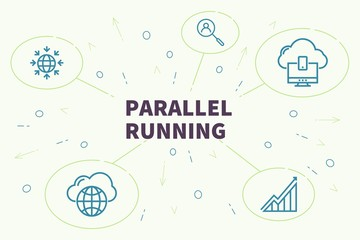 Business illustration showing the concept of parallel running