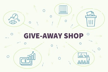 Business illustration showing the concept of give-away shop