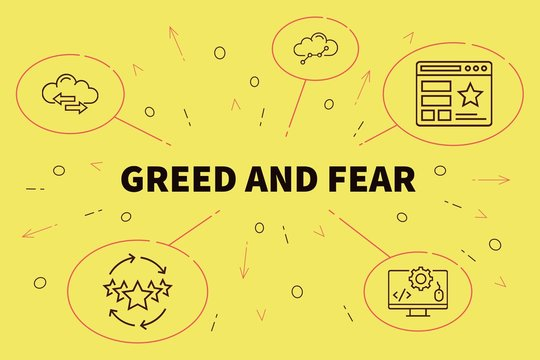 Business illustration showing the concept of greed and fear
