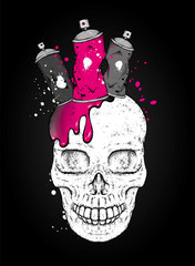 Skull and ballons with paint for graffiti. Skull in the crown of cans. Vector illustration for a postcard or a poster, print for clothes. Urban, city and extreme.