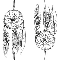 Vector illustration of black and white dreamcatcher pattern in hand drawn style.