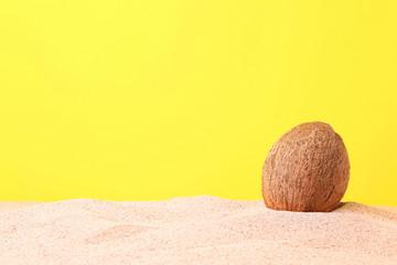 Coconut on the beach sand