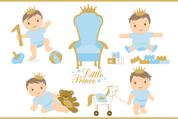 Little prince. Royal vector throne icon. Set of cute illustration for birthday invitation or baby shower. Toddler's first step. Sitting, playing, crawling and walking baby cartoon. Blue and gold. Toys