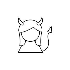 Devil girl line icon