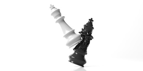 Black chess king broken by the white king, isolated on white background. 3d illustration