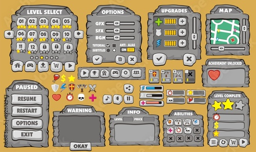 Game User Interface In Cartoon Style With Basic Buttons And Functions Status Bar For