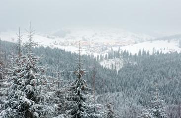 Early morning winter mountain landscape