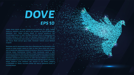 The dove of the particles. The dove consists of dots and circles. Blue dove on a dark background