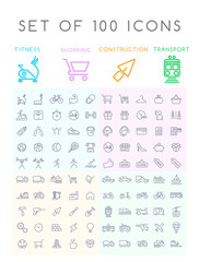 Set of 100 Minimal Modern Elegant BlackStroke Icons ( Fitness Shopping Construction and Transport Icons )