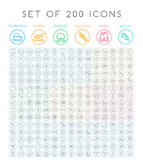 Set of 200 Minimal Modern Black Thin Stroke Icons ( Multimedia Business Ecology Education Family Medical Fitness) on Circular Buttons
