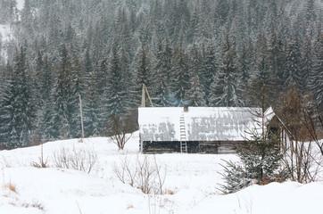 Early morning winter mountain village landscape