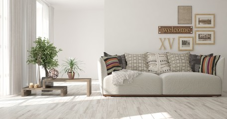 Idea of white minimalist room with sofa and modern table. Scandinavian interior design. 3D illustration