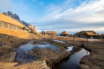 old viking village at icelandic land