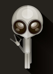 Alien hand drawn vector illustration.