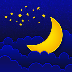 Retro illustration of a smiling moon good night.