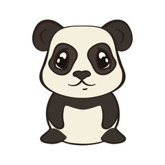 Cute panda bear character in cartoon style isolated on white background. Panda with big expressive eyes. Flat design vector illustrator. Bearcat sits, front view. Lovely muzzle, design for children.