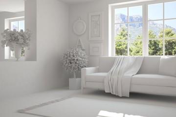 Idea of grey room with sofa and summer landscape in window. Scandinavian interior design. 3D illustration