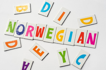 word Norwegian made of colorful letters