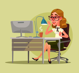 Happy smiling secretary woman character. Vector flat cartoon illustration