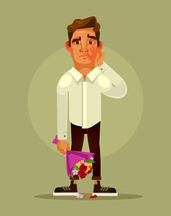 Unsuccessful bad date concept. Vector flat cartoon illustration