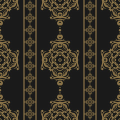 Vintage seamless pattern. Floral ornate wallpaper. Dark vector damask background with decorative ornaments and flowers in Baroque style. Luxury endless texture.
