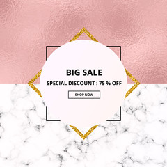 Cover placard sale white marble or stone texture and pink foil texture. Trendy geometric poster. Templates for your designs, banner, card, flyer, invitation, party, birthday, wedding, baby shower, onl