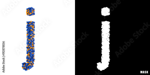 Litera J 3d Sześciany Kwadraty Klocki Piksele Stock Photo And