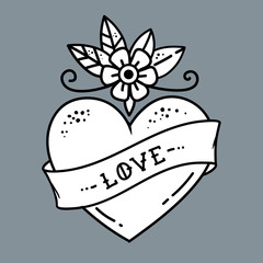 Tattoo heart with flower and ribbon. Symbol of Love.