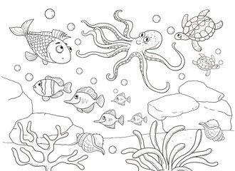 Cute sea animals. Ocean. Different fish. Coloring page. Illustration for children