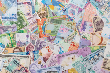 Collection of the variety  currency and banknotes from world