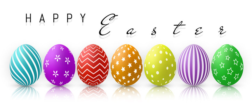 Happy Easter, Color Eggs Collection With Gradient Mesh, design template, Vector Illustration
