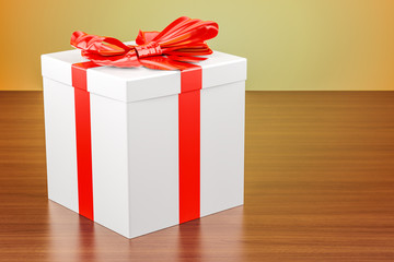 Gift box with red ribbon and bow on the wooden table. 3D rendering