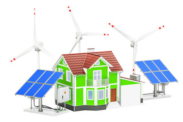 House with solar panels and wind turbines. Renewable energy concept, 3D rendering