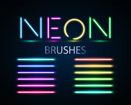 Neon brushes set. Set of colorful light objects on dark backgroun