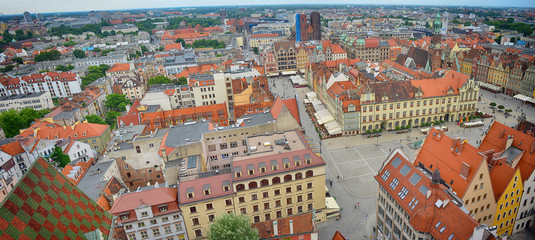 Wroclaw Panorama of the City Center and historical Buildings
