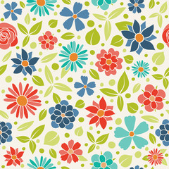 Vivid floral background - seamless pattern with spring flowers. Mother's Day, Woman's Day and Valentine's Day. Vector.