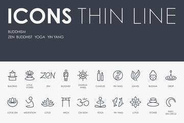 BUDDHISM Thin Line Icons