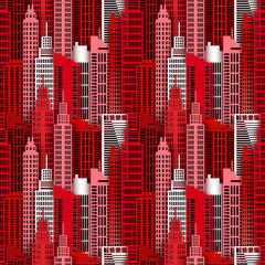 Seamless urban background. Paper skyscrapers. Achitectural building in panoramic view. Modern city skyline building industrial paper art landscape skyscraper offices. Vector Illustration