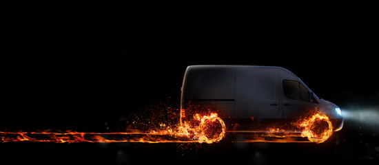 Super fast delivery of package service with van with wheels on fire. 3D Rendering