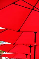 repeating red umbrellas