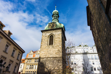 Belfry of St. Peter's church in Prague, Czech Republic
