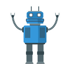 Funny retro robot isolated on white background. Flat style. Vector illustration.