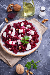 Healthy beetroot salad with feta and walnuts