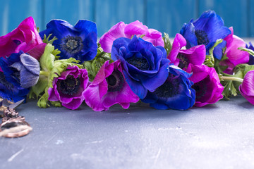 A bouquet of blue flowers and pink on a gray background. Postcard with fresh flowers. Free space for text.