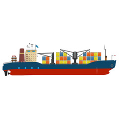 Container ship in export and import business and logistics. Shipping cargo to harbor by crane. Water transport International. Vector illustrated icon with solid and flat color style design.