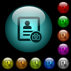Contact profile picture icons in color illuminated glass buttons